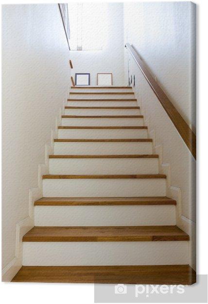 Cuadro En Lienzo Interior Escaleras De Madera Y Pasamanos Pixers - Cuadros-para-escaleras