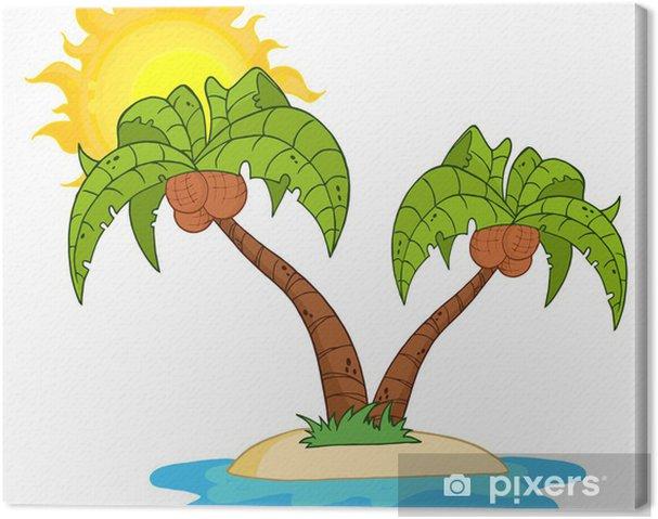 Cuadro En Lienzo Isla De Dibujos Animados Con Dos Palmera Pixers