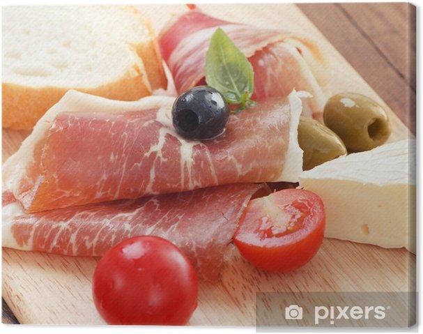 Cuadro en Lienzo Jamón en lonchas de queso de oliva y tomate cereza - Temas