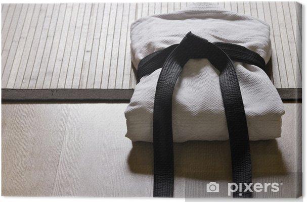 Cuadro en Lienzo Judo gi con cinturón negro - Arte marcial