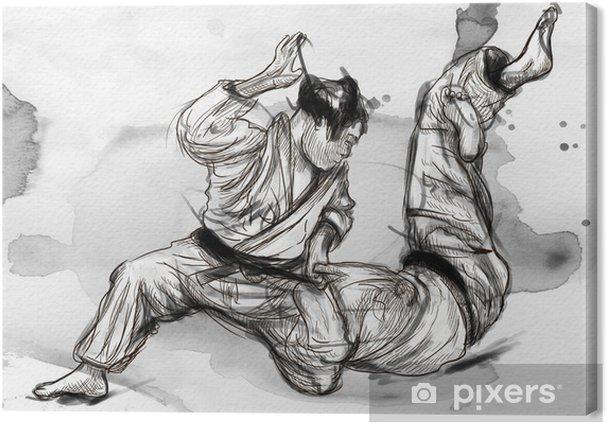 Cuadro en Lienzo Judo - una ilustración dibujados a mano de tamaño completo - Deportes extremos