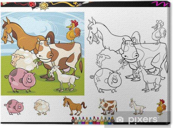 Cuadro en Lienzo Juego de páginas para colorear animales de granja ...