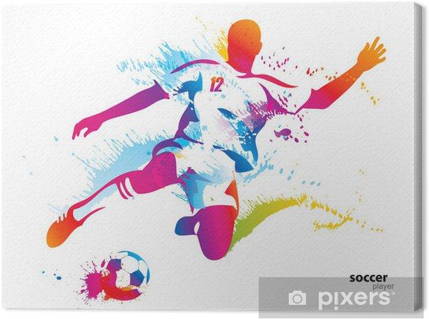 Cuadro en Lienzo Jugador de fútbol patea la pelota. La ilustración vectorial colorido - Destinos