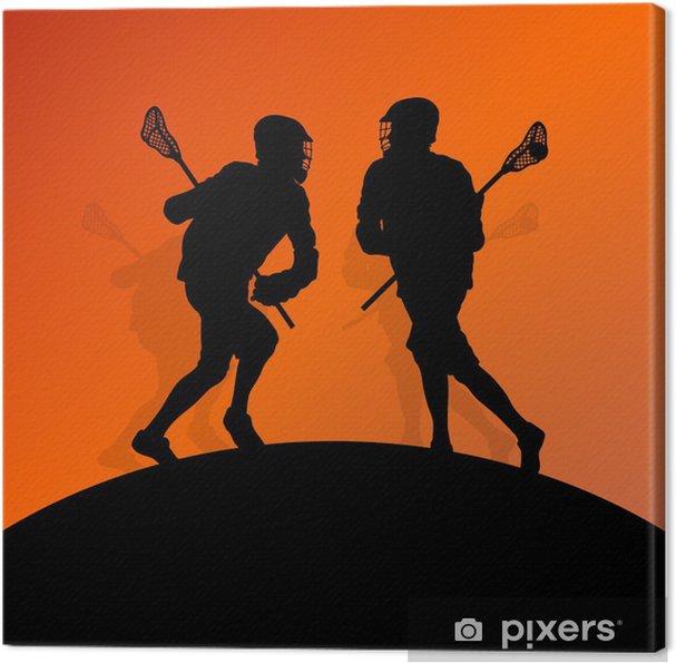 Cuadro en Lienzo Jugadores de lacrosse de los hombres activa siluetas de deportes de fondo illust - Otras emociones