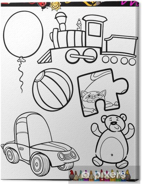 Cuadro En Lienzo Juguetes De Dibujos Animados Para Colorear Objetos