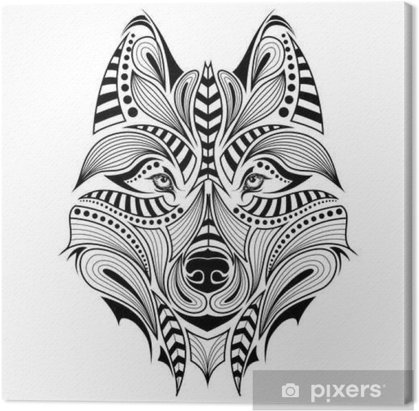 Cuadro En Lienzo La Cabeza De Color Con Dibujos Del Lobo áfrica