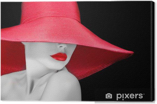 Cuadro en Lienzo La cara de una mujer hermosa en el sombrero ... 8a31554252d