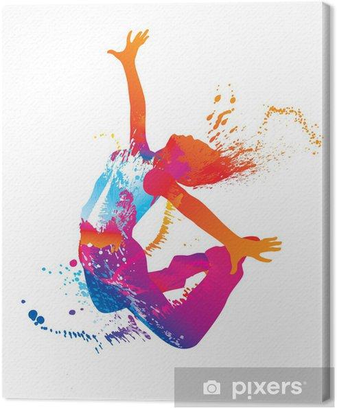 Cuadro en Lienzo La chica bailando con manchas de color y toques en blanco - Destinos