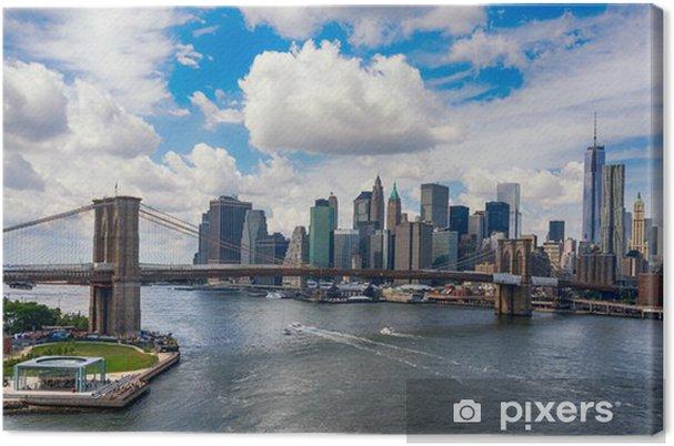 Cuadro en Lienzo La ciudad de Nueva York en el resplandor de la puesta del sol -