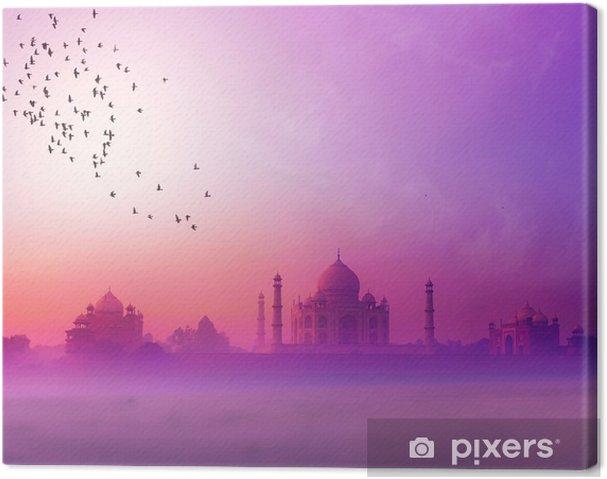 Cuadro en Lienzo La India. Taj Mahal silueta de la puesta del sol. Palacio Tajmahal en puesta del sol sk -