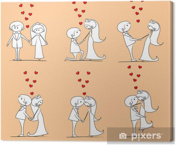 Cuadro en Lienzo La novia y el novio en el amor, vector - Parejas