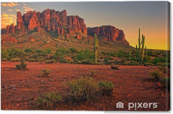 Cuadro en Lienzo La puesta del sol del desierto con la montaña, cerca de Phoenix, Arizona, EE.UU. - Desierto