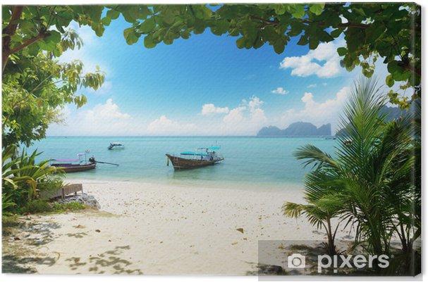 Cuadro en Lienzo Lancha en la isla Phi Phi en Tailandia - Agua