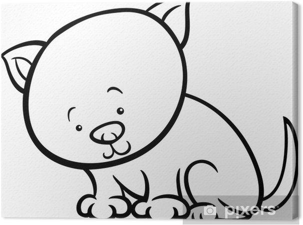 Cuadro en Lienzo Lindo gatito para colorear de dibujos animados ...
