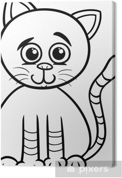 Cuadro en Lienzo Lindo gato para colorear de dibujos animados ...