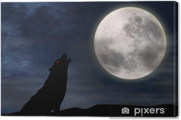 Cuadro En Lienzo Lobo Aullando A La Luna Llena Pixers Vivimos