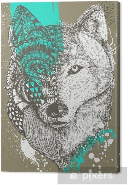 Cuadro en Lienzo Lobo estilizado zentangle con salpicaduras de pintura, ilustración dibujados a mano - Animales