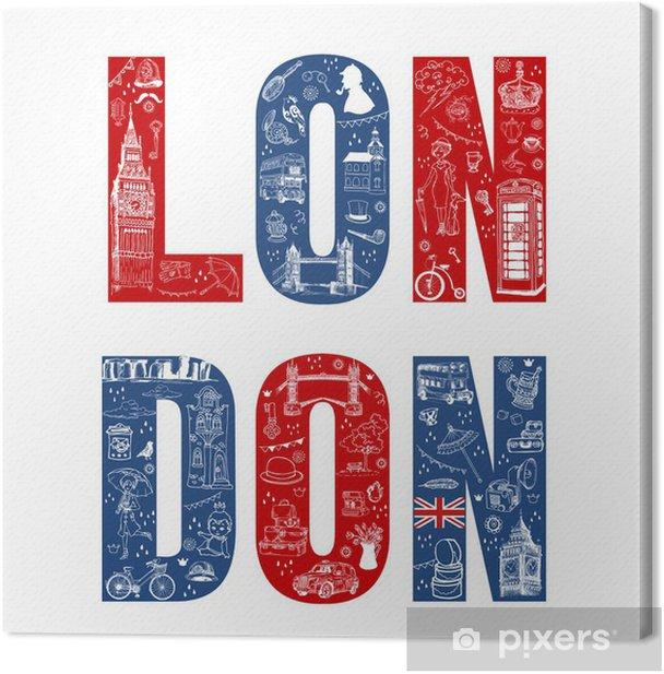 Cuadro en Lienzo Londres Tarjeta Illustation - dibujado a mano en el vector - Viajes