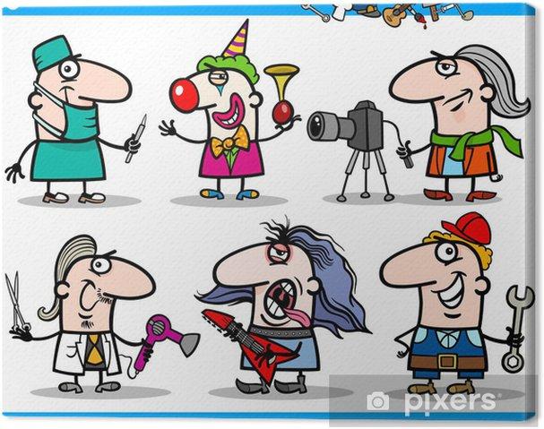 Cuadro En Lienzo Los Dibujos Animados En Ocupaciones Caracteres Establecidos