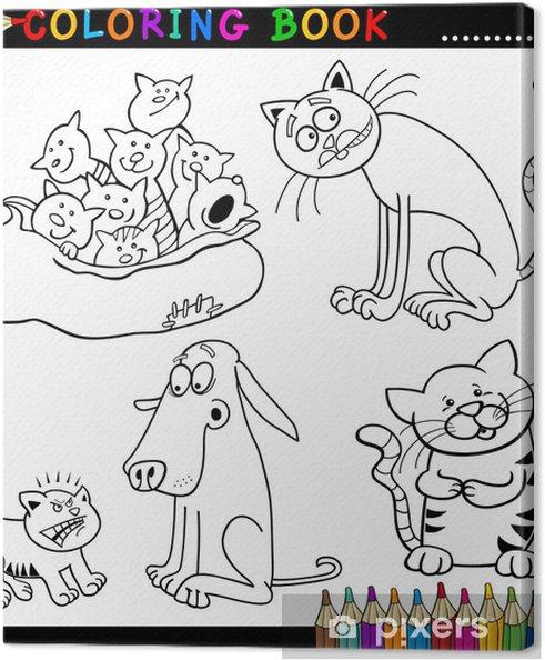 Cuadro en Lienzo Los gatos de dibujos animados para colorear libro o ...