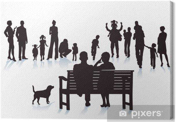 Cuadro en Lienzo Los padres, abuelos y niños - Vida familiar
