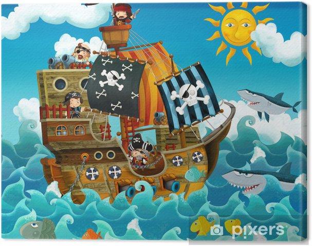 Cuadro en Lienzo Los piratas en el mar - ilustración para los niños - Destinos