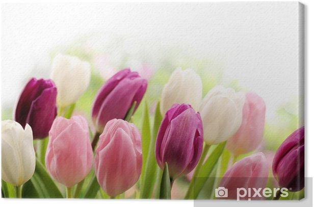Cuadro en Lienzo Los tulipanes - Casa y jardín