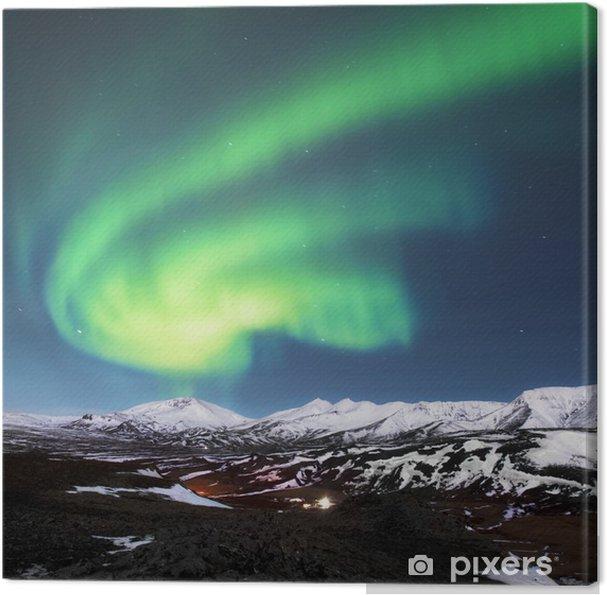 Cuadro en Lienzo Luces del Norte por encima de los fiordos de Islandia - Maravillas de la naturaleza
