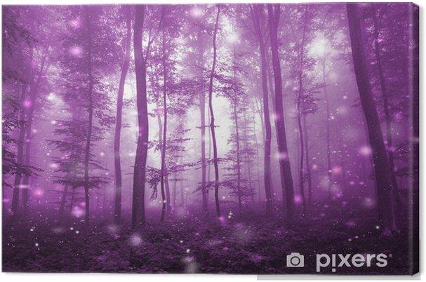 Cuadro en Lienzo Mágico bosque de niebla de color rosa con luciérnagas artísticas luz de fondo. mágico cuento de hadas de color rosa oscuro. - Paisajes