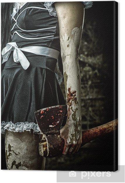Cuadro en Lienzo Mala mujer que sostiene un hacha sangrienta - Temas