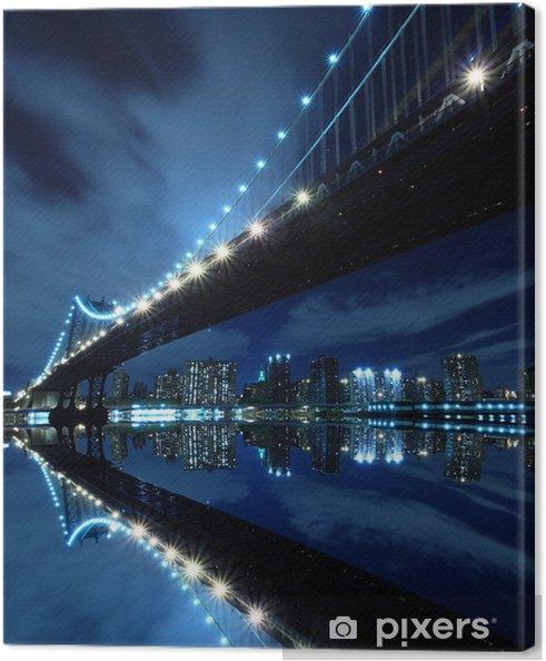 Cuadro en Lienzo Manhattan Bridge At Night Lights, Nueva York -