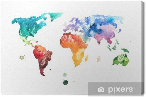 Cuadro en Lienzo Mano acuarela dibujada ilustración de mapa del mundo de la acuarela. - Hobbies y entretenimiento