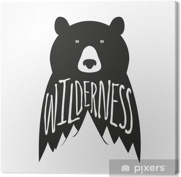 Cuadro en Lienzo Mano vector vendimia cartel de la tipografía dibujada con el oso negro y montañas - Animales
