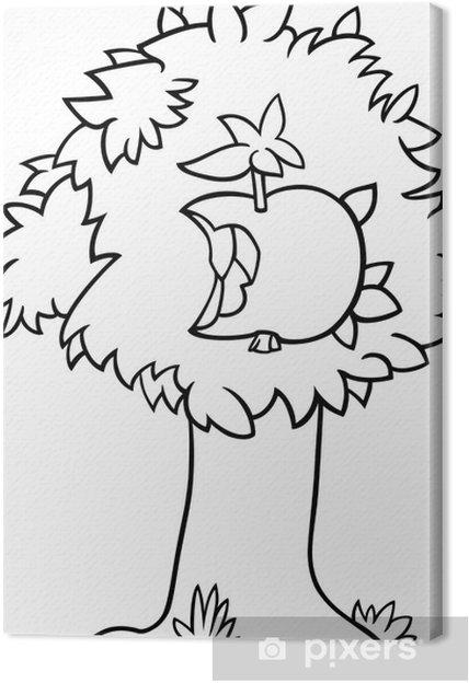 Cuadro en Lienzo Manzana mordisqueada en la página para colorear ...