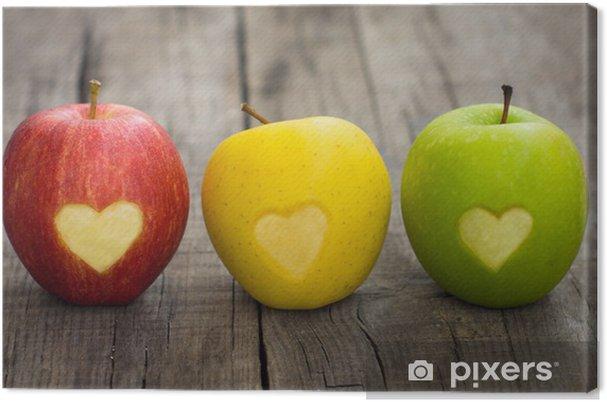 Cuadro en Lienzo Manzanas con grabado corazones - iStaging