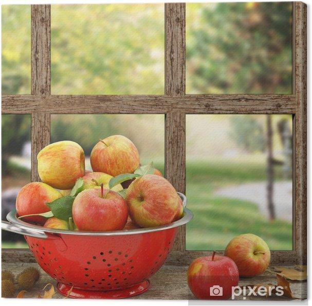 Cuadro en Lienzo Manzanas en el colador de la ventana de madera con vista - iStaging