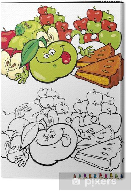 Cuadro en Lienzo Manzanas y empanada para colorear • Pixers ...