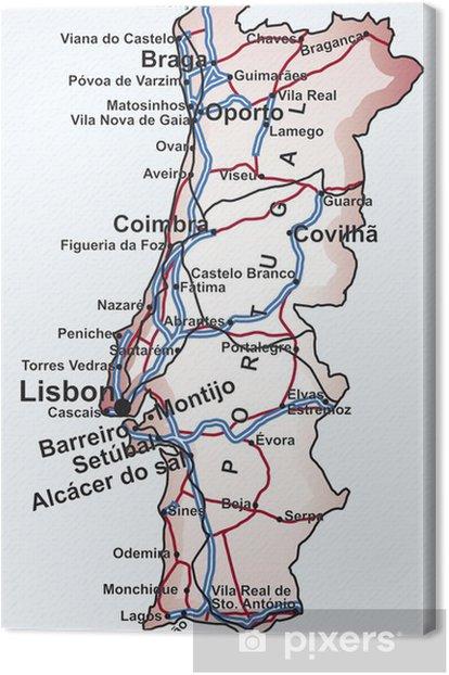 Cuadro En Lienzo Mapa De Carreteras De Portugal Pixers