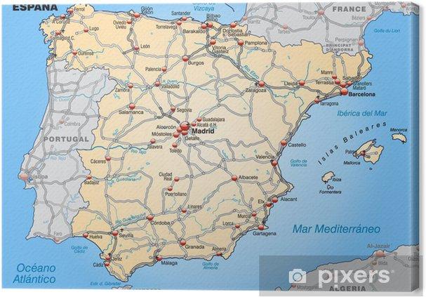 Mapa De España Carreteras.Cuadro En Lienzo Mapa De Espana Con Las Carreteras Y Ciudades Principales