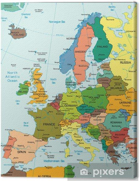 Cuadro en Lienzo Mapa de la tierra Mundo Europa Continente País - Temas
