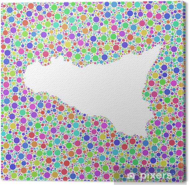 Mapa De Sicilia Italia.Cuadro En Lienzo Mapa De Sicilia Italia En Un Icono Cuadrado Coloreado