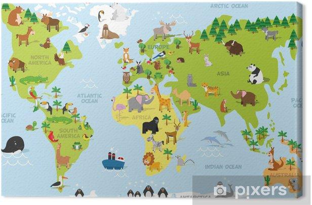 Cuadro en Lienzo Mapa del mundo divertido de dibujos animados con animales tradicionales de todos los continentes y océanos. Ilustración del vector para la educación preescolar y diseño de los niños - PI-31