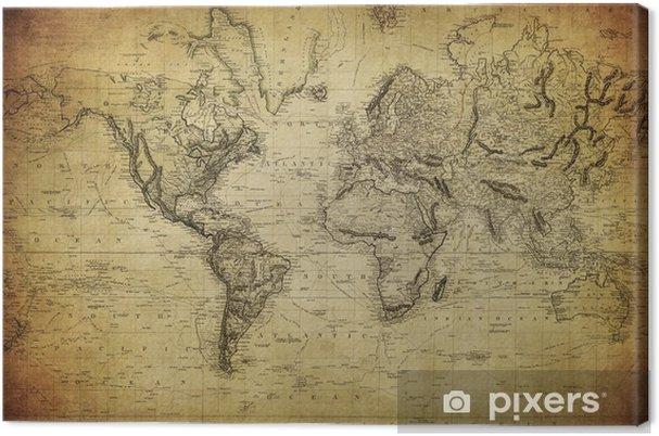 Cuadro en Lienzo Mapa del vintage del mundo 1814 .. - Temas
