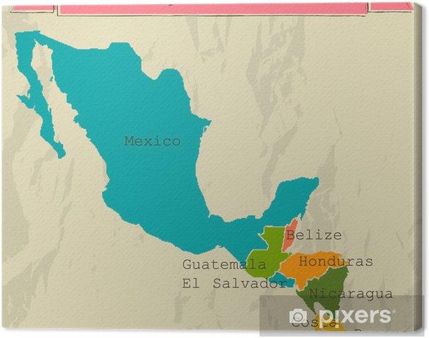 Cuadro en Lienzo Mapa editable Centroamérica con todos los países. - Temas