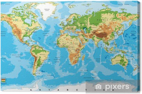 Mapa Físico Del Mundo.Cuadro En Lienzo Mapa Fisico Del Mundo