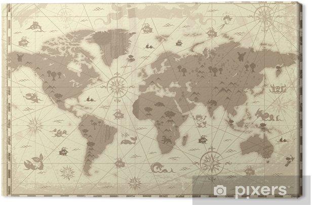 Cuadro en Lienzo Mapa mundo antiguo - Temas