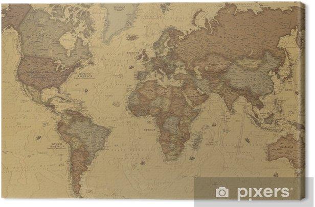 Cuadro en Lienzo Mapa mundo antiguo - iStaging