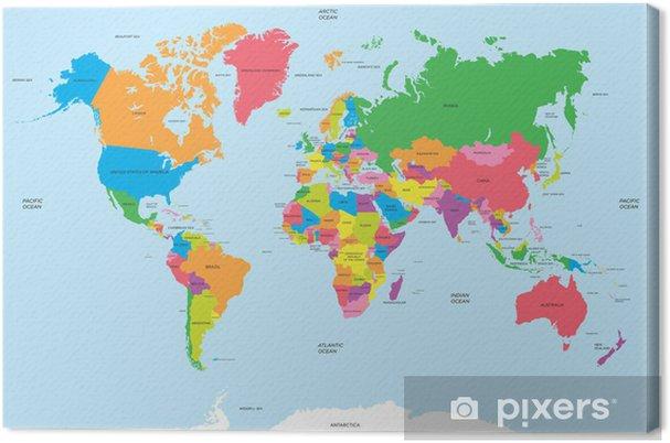 Cuadro en Lienzo Mapa político del vector del mundo - Temas