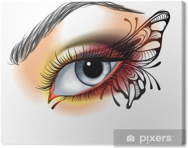 Cuadro en Lienzo Maquillaje de ojos con la mariposa - Estilos
