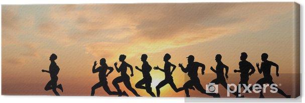Cuadro en Lienzo Marathon, siluetas negras de corredores en la puesta de sol - Salud